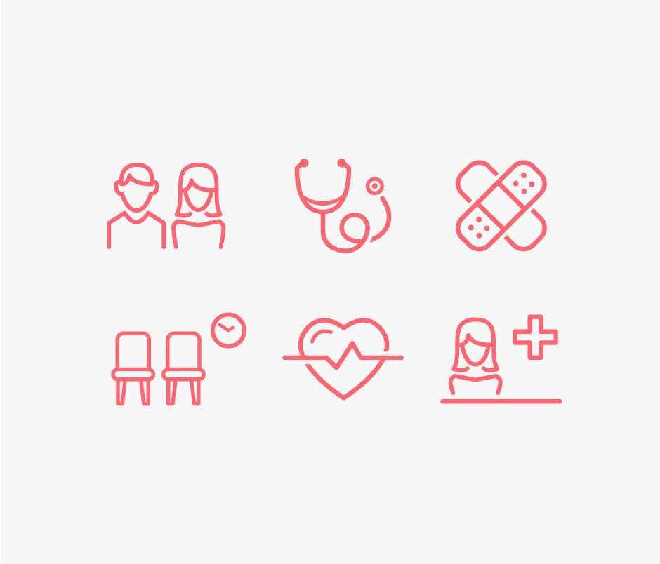 Piktogramme für Schilder Praxis Dr. Neukirch