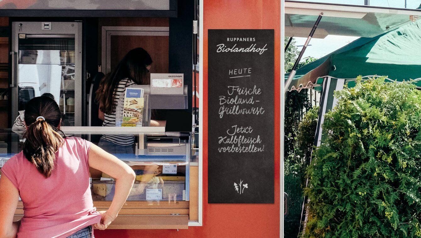 Ruppaners Biolandhof Werbung und Beklebung für Wochenmarktstand