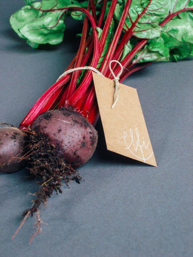 Elfi Etikett an Gemüse