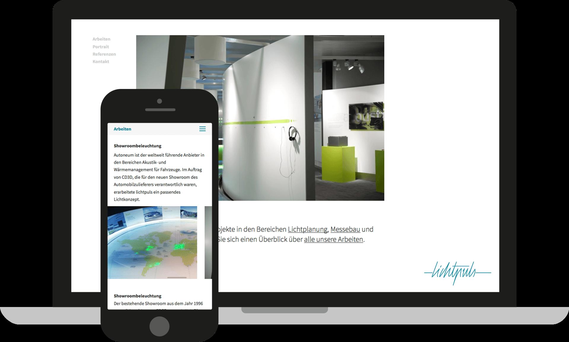 lichtpuls Website bietet optimale Darstellung auf verschiedenen Bildschirmgrößen und Mobilgeräten