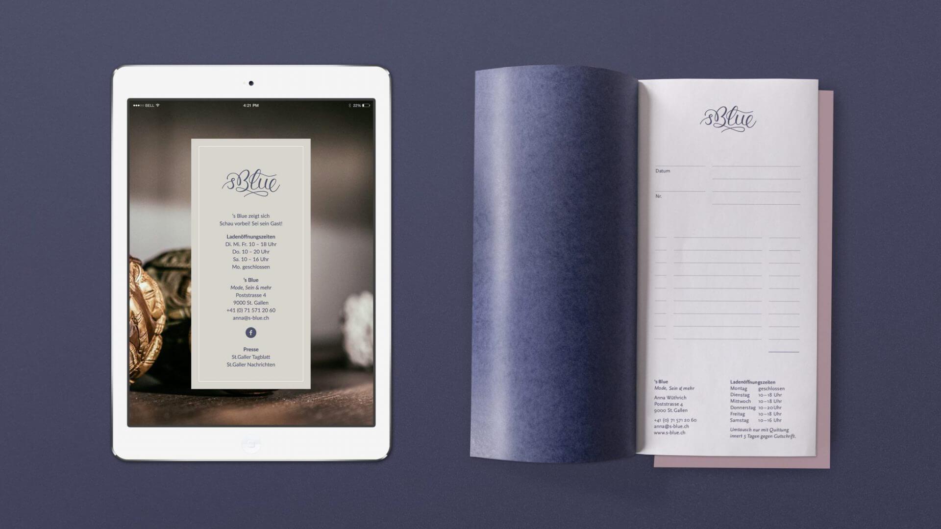 's Blue Corporate Design, Website und Quitttungsblock
