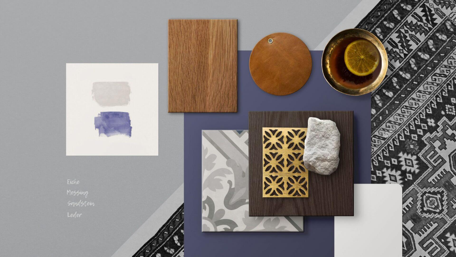 's Blue Material- und Moodboard