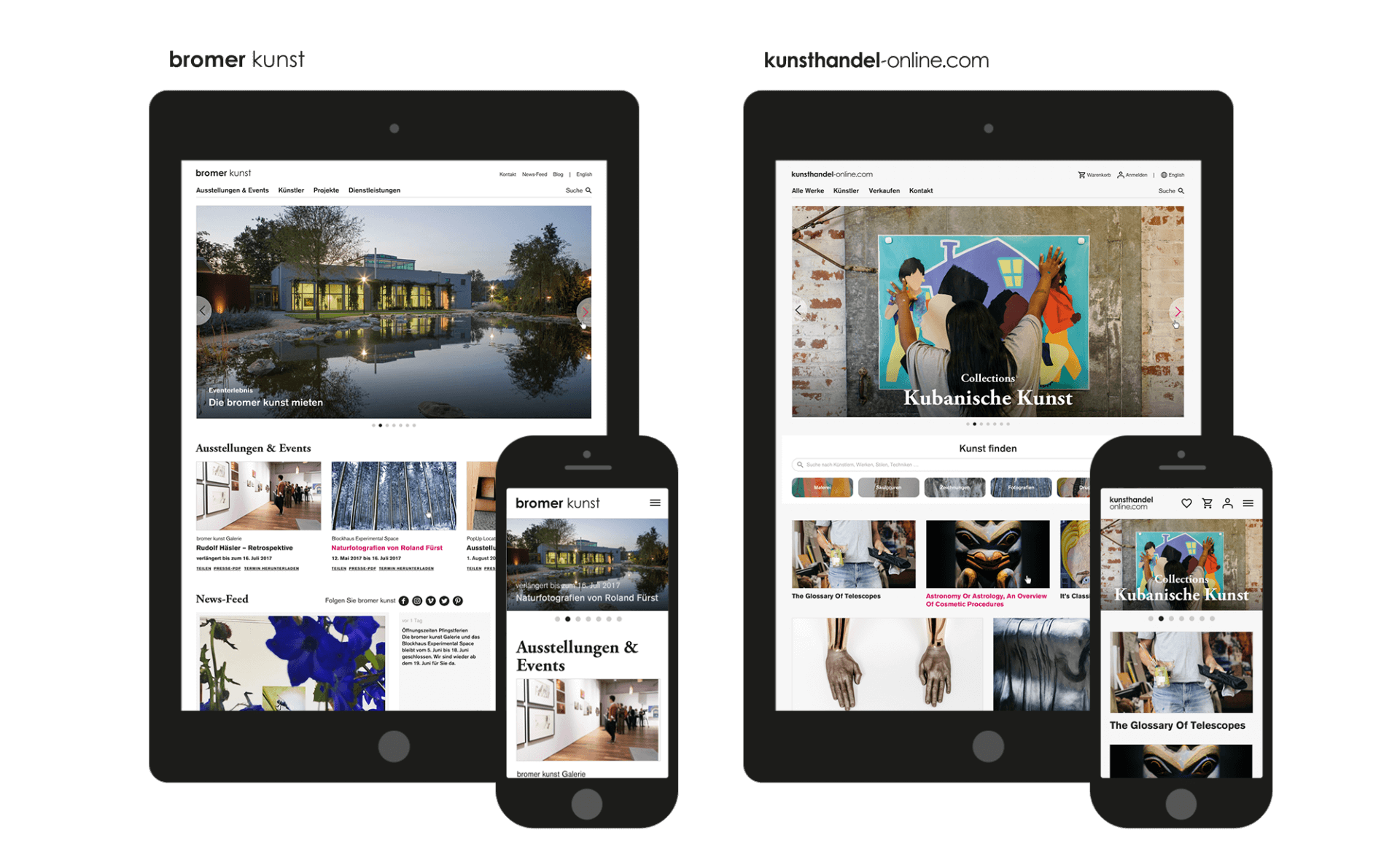 bromer kunst und kunsthandel-online.com optimiert für verschiedene Geräte