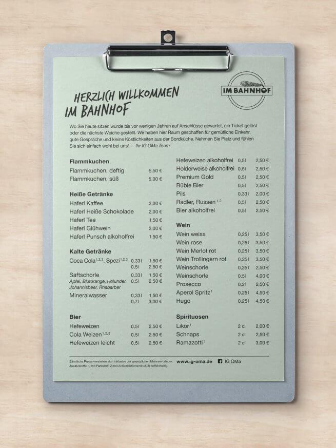 Speisenkarte für den Bahnhof