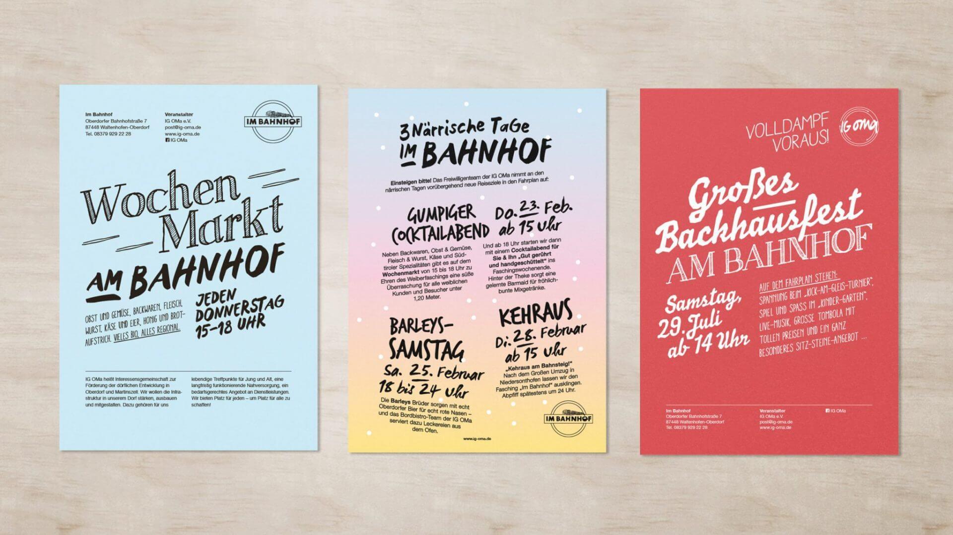 Plakat- und Flyerentwürfe für die IG OMa