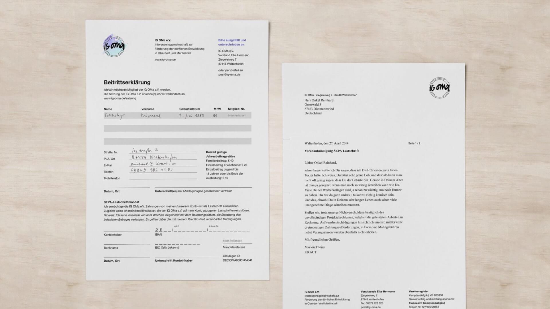Geschäftsaustattung, Beitrittserklärungen und Briefbogen für die IG OMa