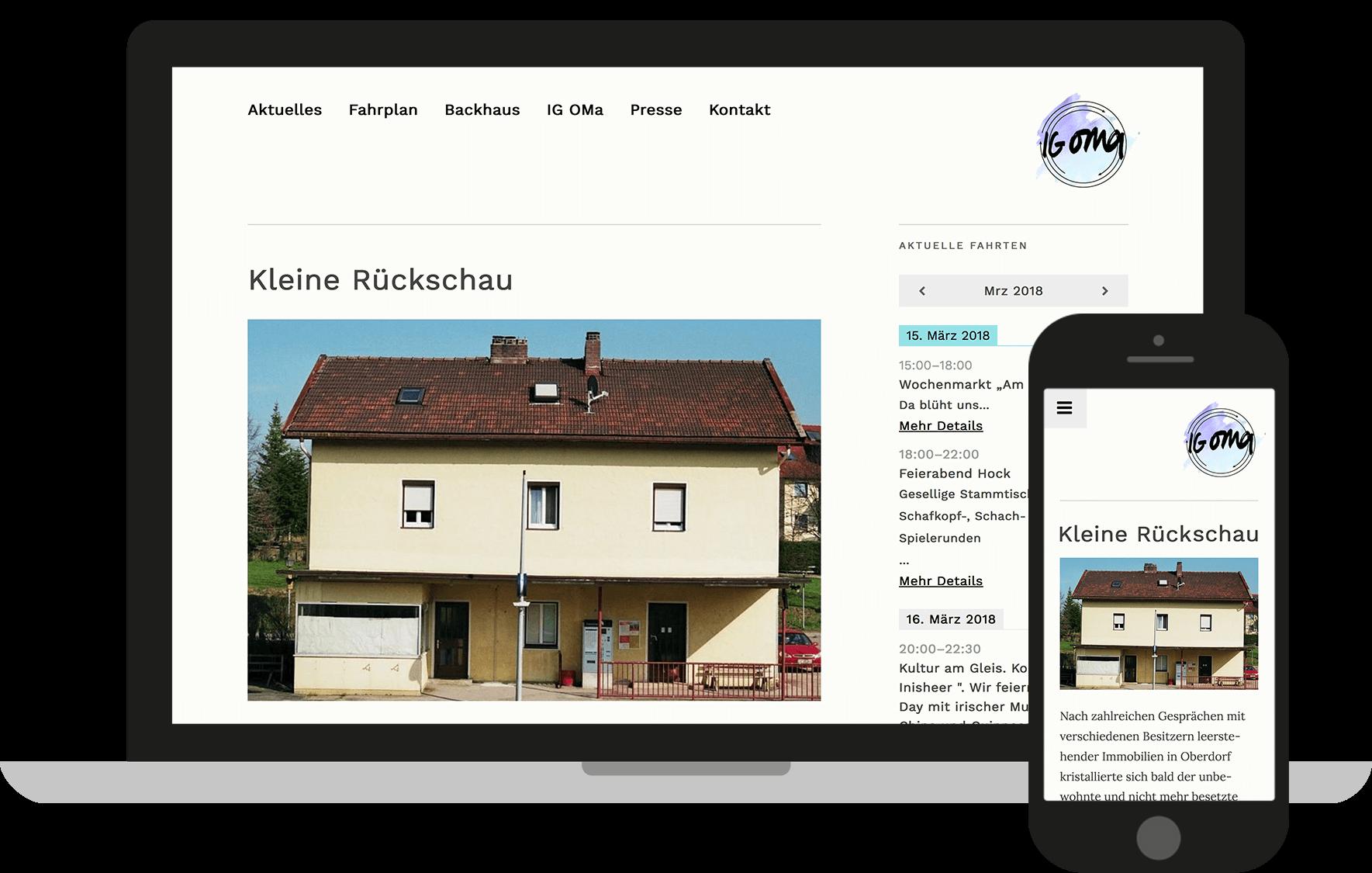 IG OMa Website optimiert für Desktop und Mobile