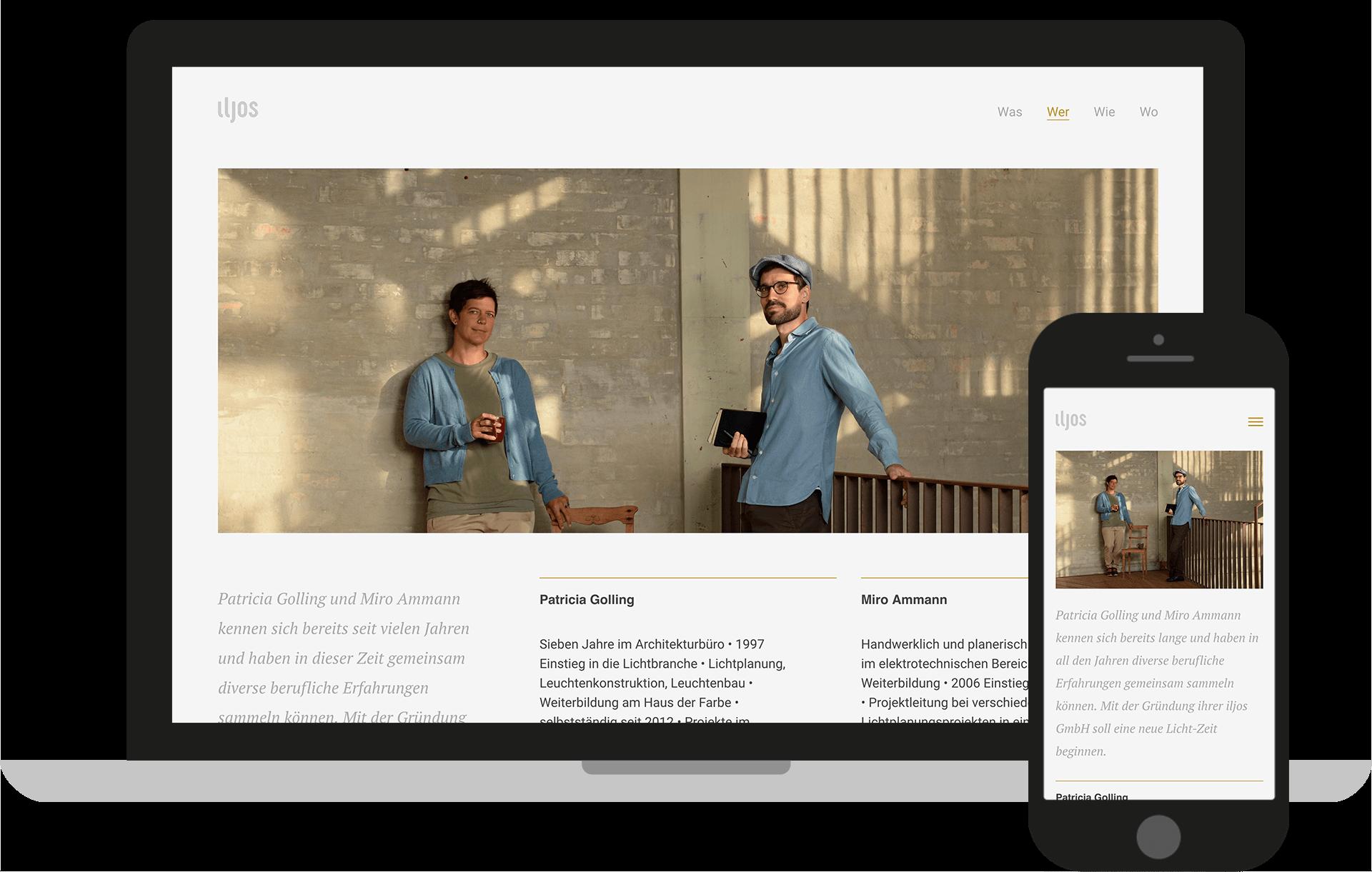 iljos Website, optimiert für Desktop und Mobile