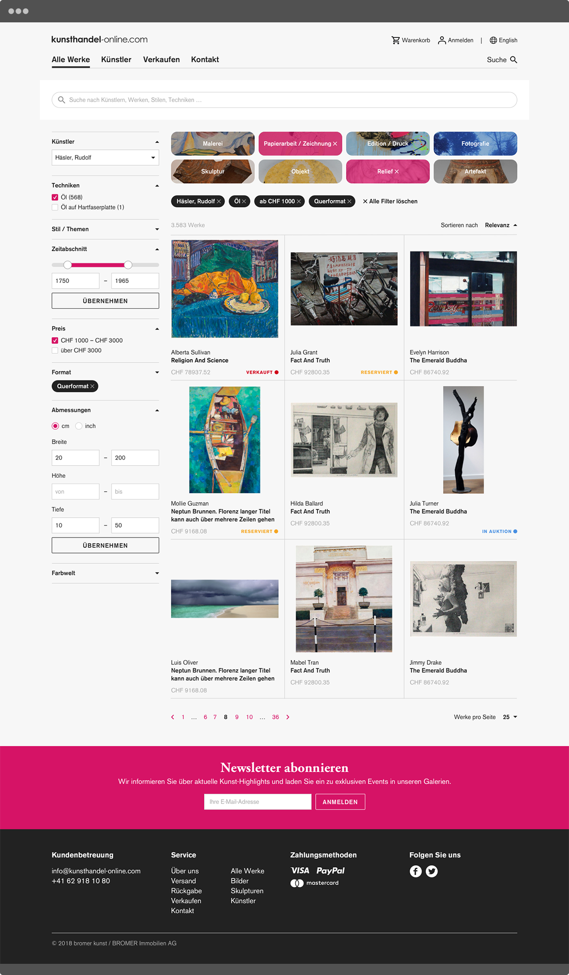 kunsthandel-online.com Kunstwerksuche mit Filterfunktionen