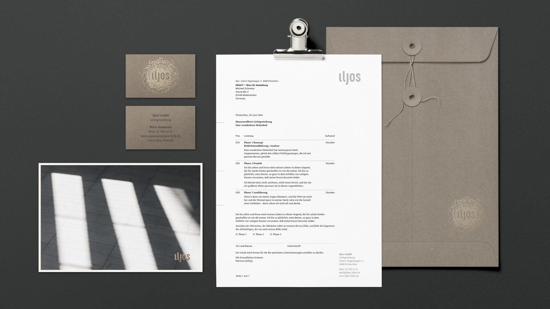 iljos Corporate Design mit Logo, Visitenkarte, Briefbogen und Umschlag, Postkarte