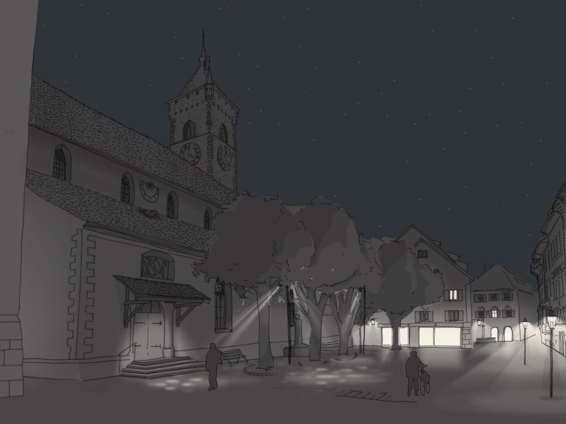 Kirche St. Johann Visualisierung für Altstadtbeleuchtung Schaffhausen