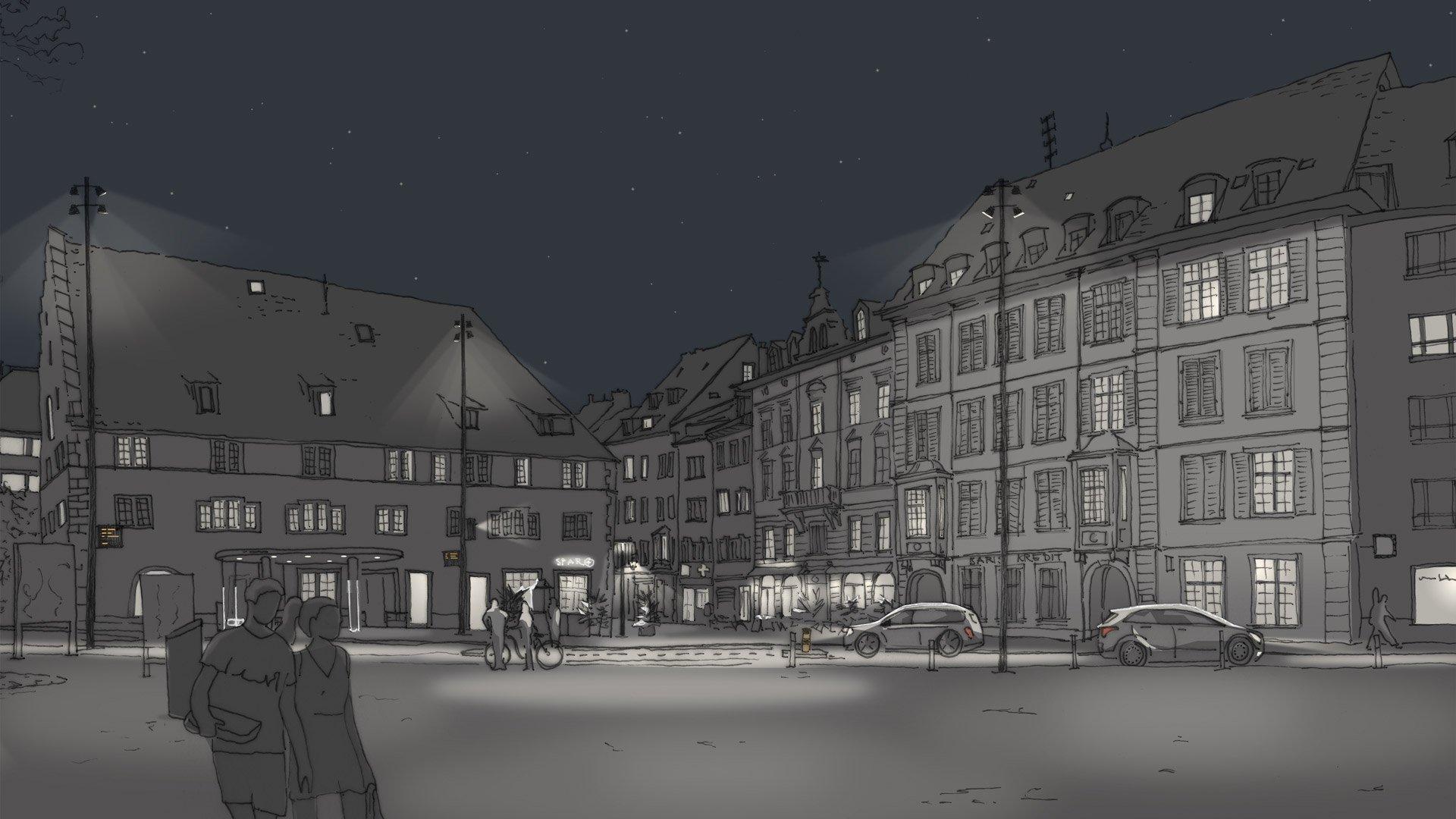 Fassadenbeleuchtung Freier Platz Visualisierung für Altstadtbeleuchtung Schaffhausen