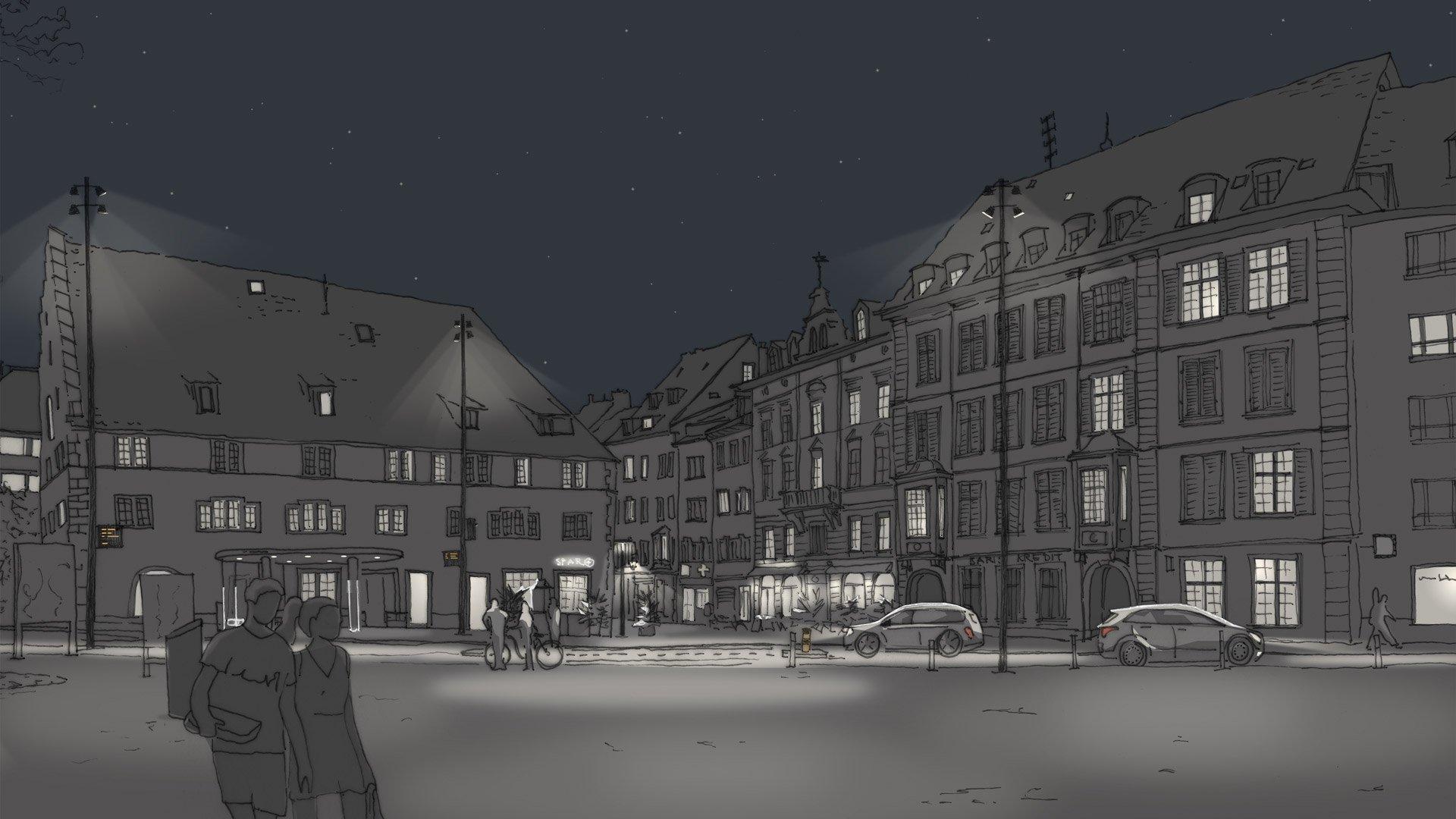 Freier Platz Visualisierung für Altstadtbeleuchtung Schaffhausen
